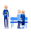 betrayal old man with flowers came on date with vector image vector image