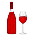 bottle of red wine with glass hand drawn sketch vector image vector image