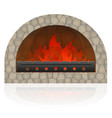 burning fire in the fireplace vector image vector image