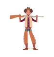 cartoon cowboy holding rifle gun isolated on white vector image vector image