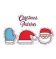 christmas patches design vector image vector image