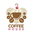 coffee house cafeteria or cafe cup steam vector image vector image