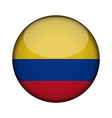 colombia flag in glossy round button of icon vector image