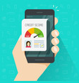 credit score online report document on smartphone vector image vector image