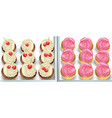 cupcakes on a white table summer delicious vector image