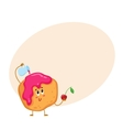 Cute and funny freshly baked donut bun scone vector image vector image