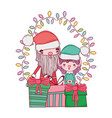 cute christmas santa claus with helper vector image