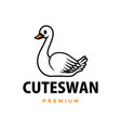 cute swan cartoon logo icon vector image
