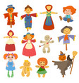 Different dolls toy character game dress and farm vector image