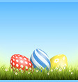 easter background with eggs in grass and with vector image vector image