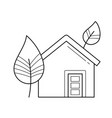 ecology friendly house with leaf line icon vector image vector image