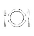 empty plate cutlery knife and fork time to eat vector image