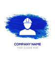 engineer user icon - blue watercolor background vector image