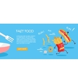 Fast Food Conceptual Flat Style Web Banner vector image vector image