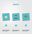 flat icons policeman lock parasol and other vector image vector image