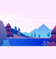flat mountain landscape nature panorama with vector image vector image