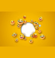 fun yellow emoji icon white circle cutout template vector image