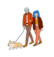 happy couple senior people walking with their vector image vector image