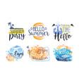 hello summer labels set enjoy adventure summer vector image vector image