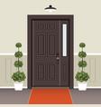 house door front with doorstep and mat window vector image