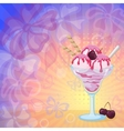 Ice Cream and Cherries on Abstract Background vector image vector image