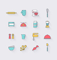 line icons set in flat design elements cooking vector image