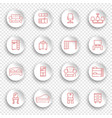 linear furniture icons on round stickers vector image vector image