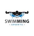 logo sport swimming in water vector image vector image