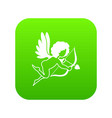 love cupid icon digital green vector image