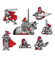 medieval knights mascots and characters set vector image
