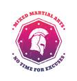 mma mixed martial arts emblem with spartan helmet vector image vector image
