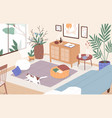 modern interior living room cosy furnished vector image vector image
