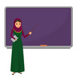 muslim woman teacher standing in front of vector image