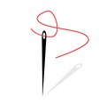 Needle and red thread vector image