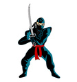 Ninja over white background vector image