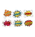 Onomatopoeia comics sounds in clouds for emotions vector image