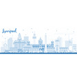 outline liverpool skyline with blue buildings vector image