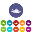 oval submarine icons set color vector image vector image