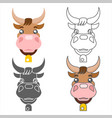 ox cow animal heads set design vector image