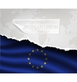 paper with hole and shadows EUROPEAN UNION flag vector image