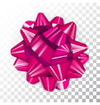 pink realistic glossy ribbon bow on transparent vector image