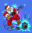playing electric guitar santa claus character vector image vector image