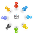 realistic 3d detailed color pins icons set vector image