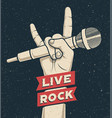 rock hand gesture holding microphone with live vector image