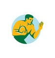 Rugby Player Fend Off Circle Retro vector image vector image