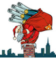 santa claus with champagne climbs the chimney vector image