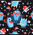 seamless jolly pattern with monsters vector image vector image