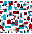 seamless pattern with hand drawn christmas gifts vector image vector image