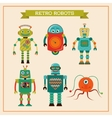Set of cute retro vintage robots vector image