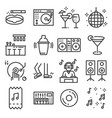 set of dancing dj music disco line icons vector image
